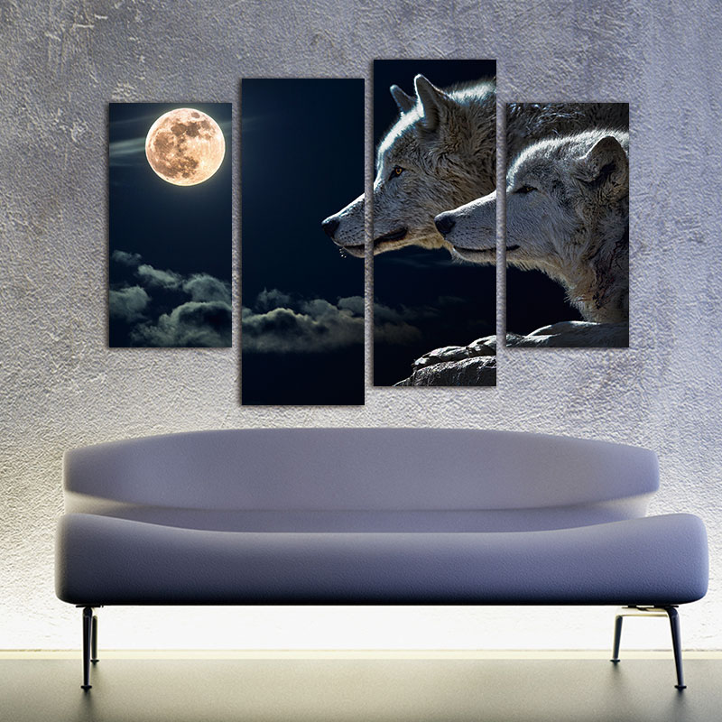 4 Panels Moonlight Wolf Wall Canvas Painting Office Artwork Gicle Wall Art Pictures For Living Room Decoration Unframed