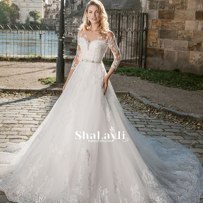 Promo Beading Wedding Dress Luxury Lace With A-line Boat Neck Full Sleeve Bride Gowns Customize Back Button Sashes Vestido De Novia