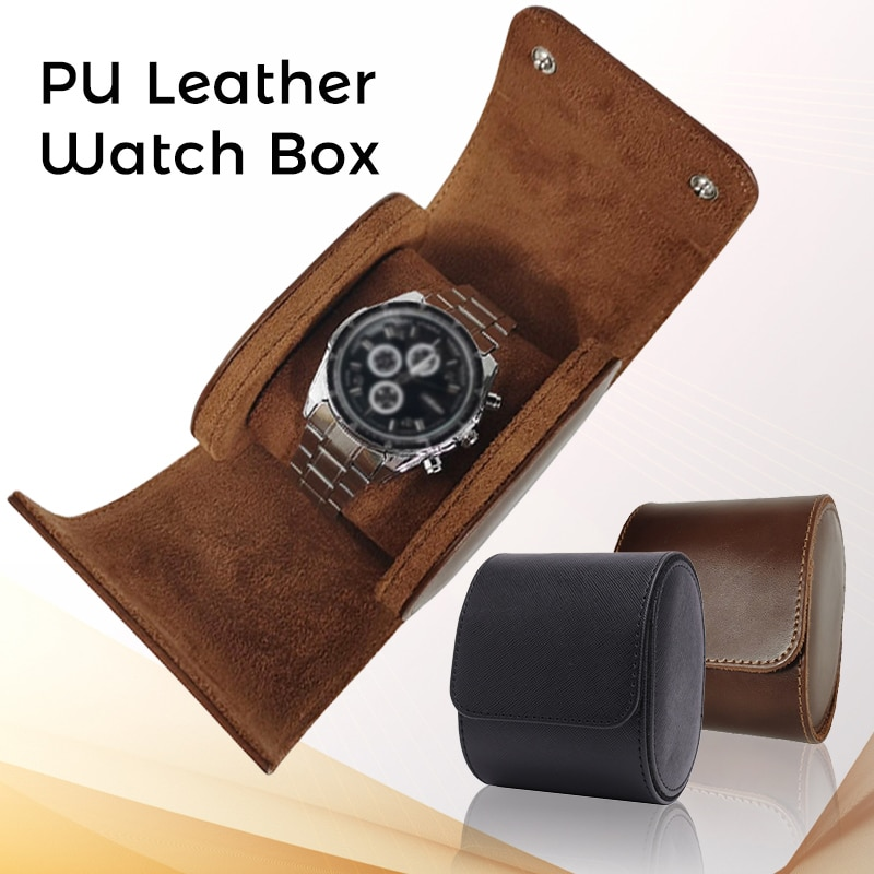1 Grid Single Watch Box Vintage PU Leather Watch Storage Box Travel Single Watch Case For Business Travel Storage Man Gift double layer luxury storage watch box slots best gift for women makeup rose wood collect box vintage case family storage box