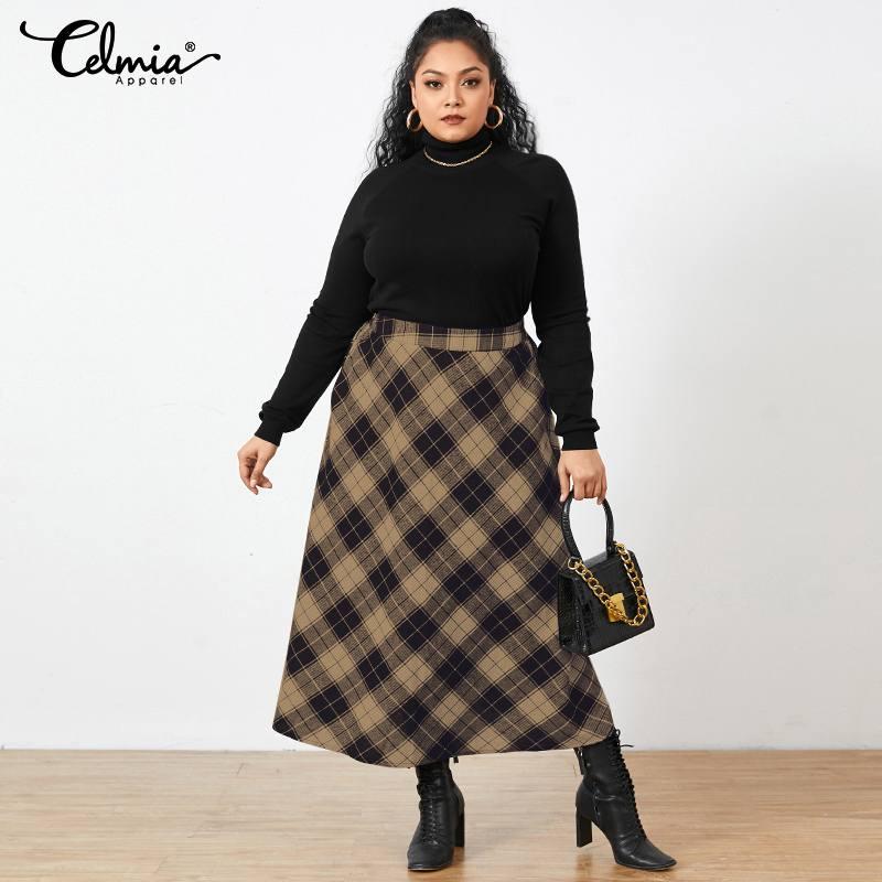 Plus Size Vintage Women Plaid Maxi Skirts 2021 Autumn Fashion Office Checked Long Skirt Celmia Pocket Casual Loose Party Skirt