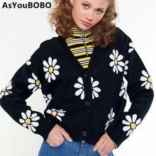 Harajuku vintage daisy pattern old school ins hot black knitted winter sweater Cardigan women female YQ-1103