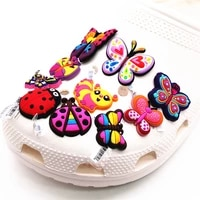 high quality shoe charms lovely butterfly ladybug pvc shoes decoration sandals accessories fit croc jibz kids party gifts f28al