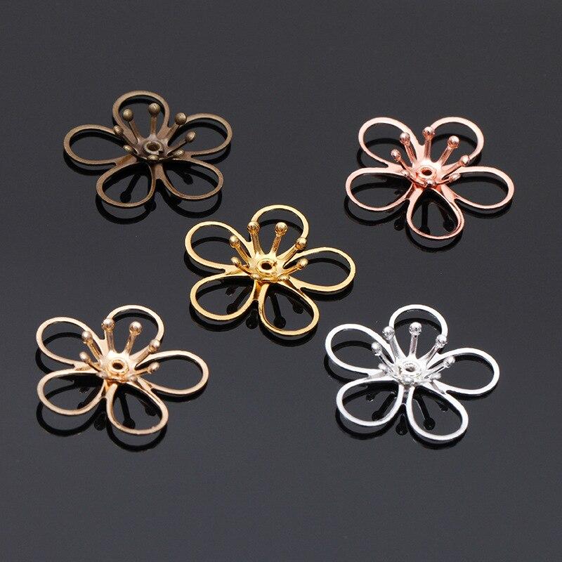 20 Uds 21mm tapas en forma de flor con cuentas filigrana de cobre, flores huecas, accesorios para el cabello, artesanía hecha a mano para fabricación de joyería DIY