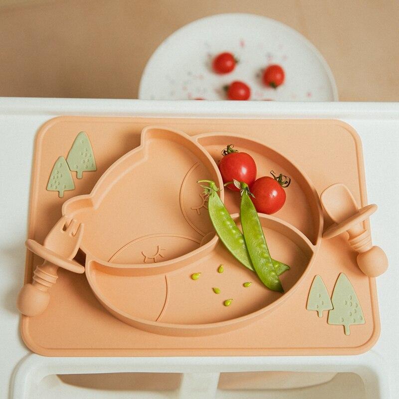 3 шт./компл. набор детской посуды лиса обеденная тарелка силиконовые ложки, вилки, Водонепроницаемый без добавления бисфенола А питание Клас...