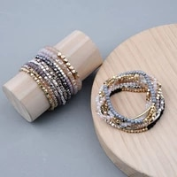 fashion 1 strand bohemian crystal bracelets for women wedding party acrylic copper beads bangles golden color jewelry for women