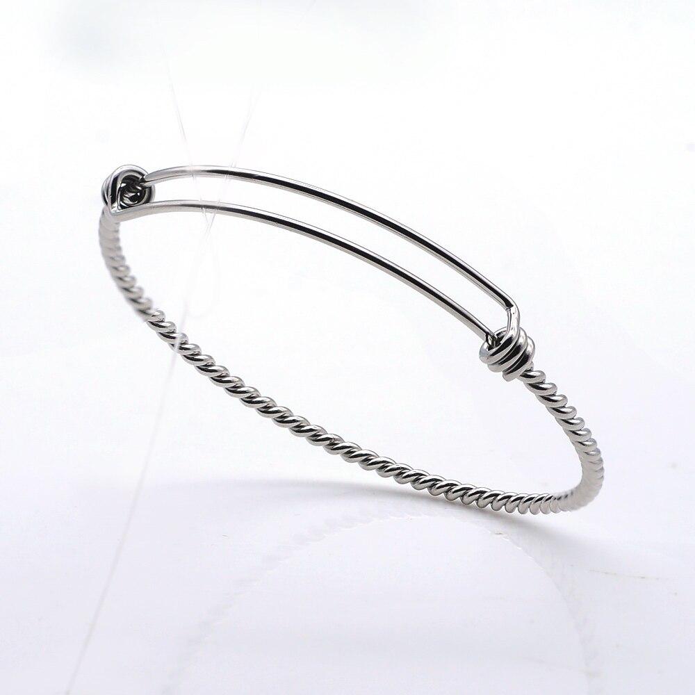 60-65mm 100% acier inoxydable bricolage stérique-torsion fil extensible bracelet en gros délicat en acier bricolage bracelets livraison directe