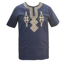 Nuevo camiseta Vestido corto vestido para boda, usando ropa bordado Bazin hombre Dashiki Tops