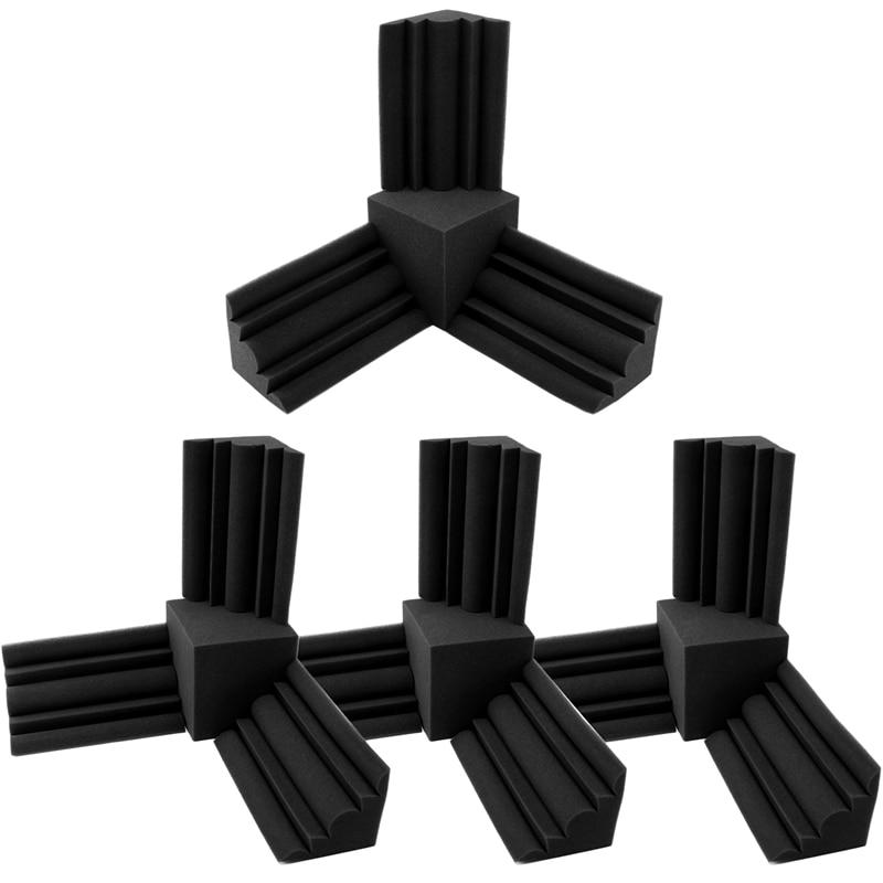 16 قطعة/المجموعة رغوة صوتية 12 قطعة باس فخ جدار رغوة + 4 قطعة مربع الصوت العزل رغوة لهب عالية الكثافة