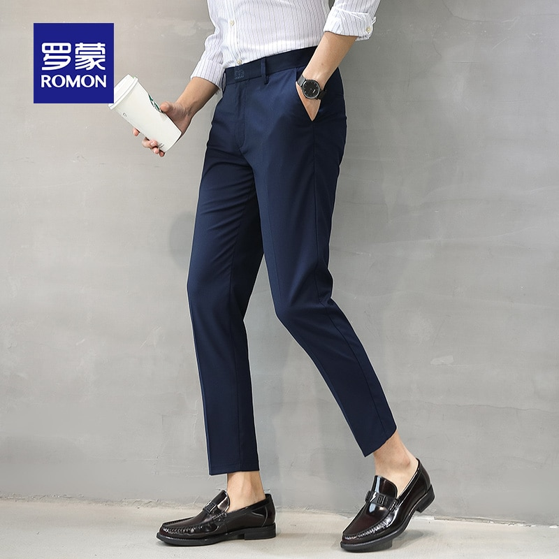 Casual Suit Pants Men's Slim Fit Cropped Spring and Summer Blue Pants Korean Style Trendy Non-Ironing Men's Straight Suit Pants