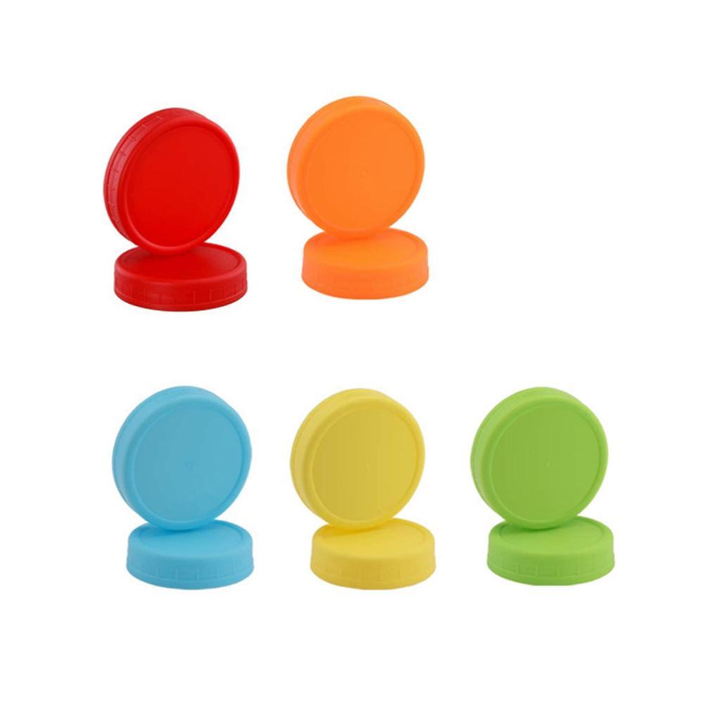 10 pçs nova cor plástico mason jar tampa com anéis de vedação de silicone para a maioria de boca regular e 8 boca larga mason canning frascos