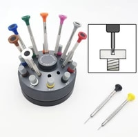 0 63 0mm precision stainless steel assortment of 10 pcs watch repair flat screwdriver set with 30 pcs spare tips