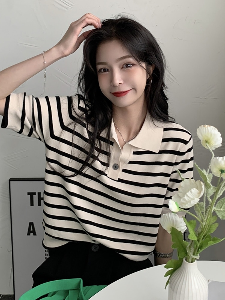 Striped T-shirt Women's Summer Polo 2021 New Thin Ice Silk Knitting Loose Short Sleeve Slim Top