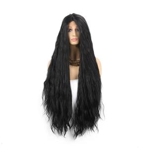 New Synthetic Long Wig Lace Front Middle Part for Black and White Women  Good Quality Black Natural Wave