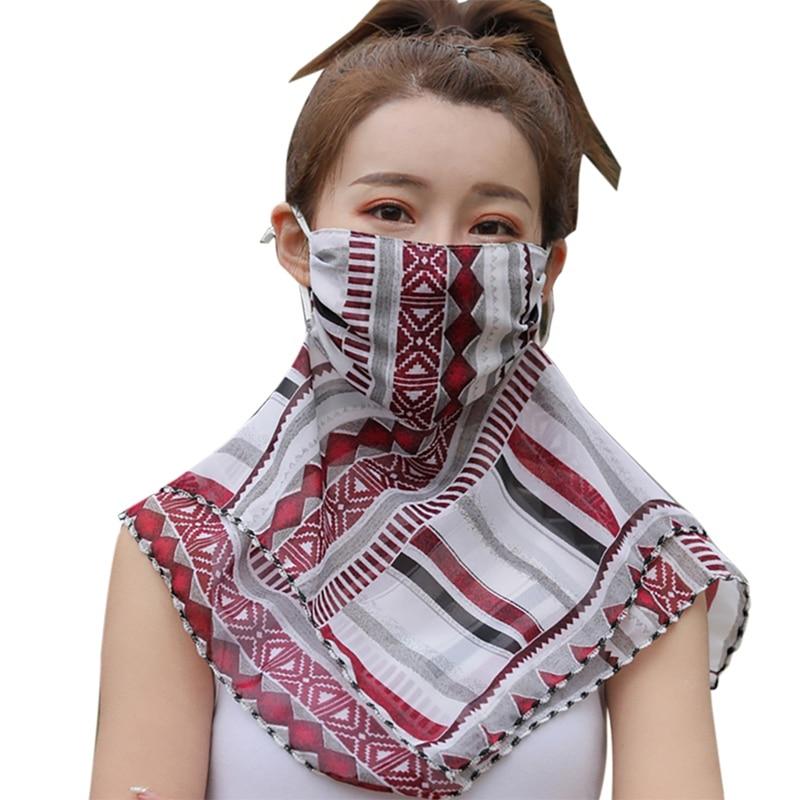Protección velo de protección solar mascarillas de gasa 1 Pza verano Mujer UV exterior ciclismo cara chal Anti neblina polen mascarillas cuello
