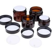 50100ml glass amber brown cosmetic face cream bottles lip balm sample container jar pot makeup store vials cream bottling
