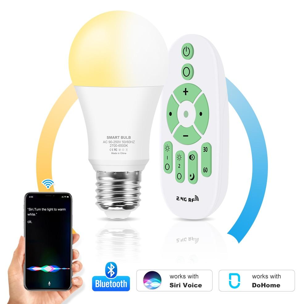 110V 220V E27 Wit + Warm Wit Led Lamp Verlichting 12W Lampada Bluetooth Smart Led Lamp Met ir Afstandsbediening Siri Voice Control
