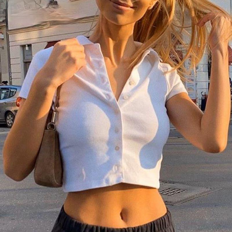 Y2K уличной одежды, белый, трикотажные шорты, короткий рукав, Ретро стиль, Круглый воротник футболка, с переключением между дальним и Брестед ...