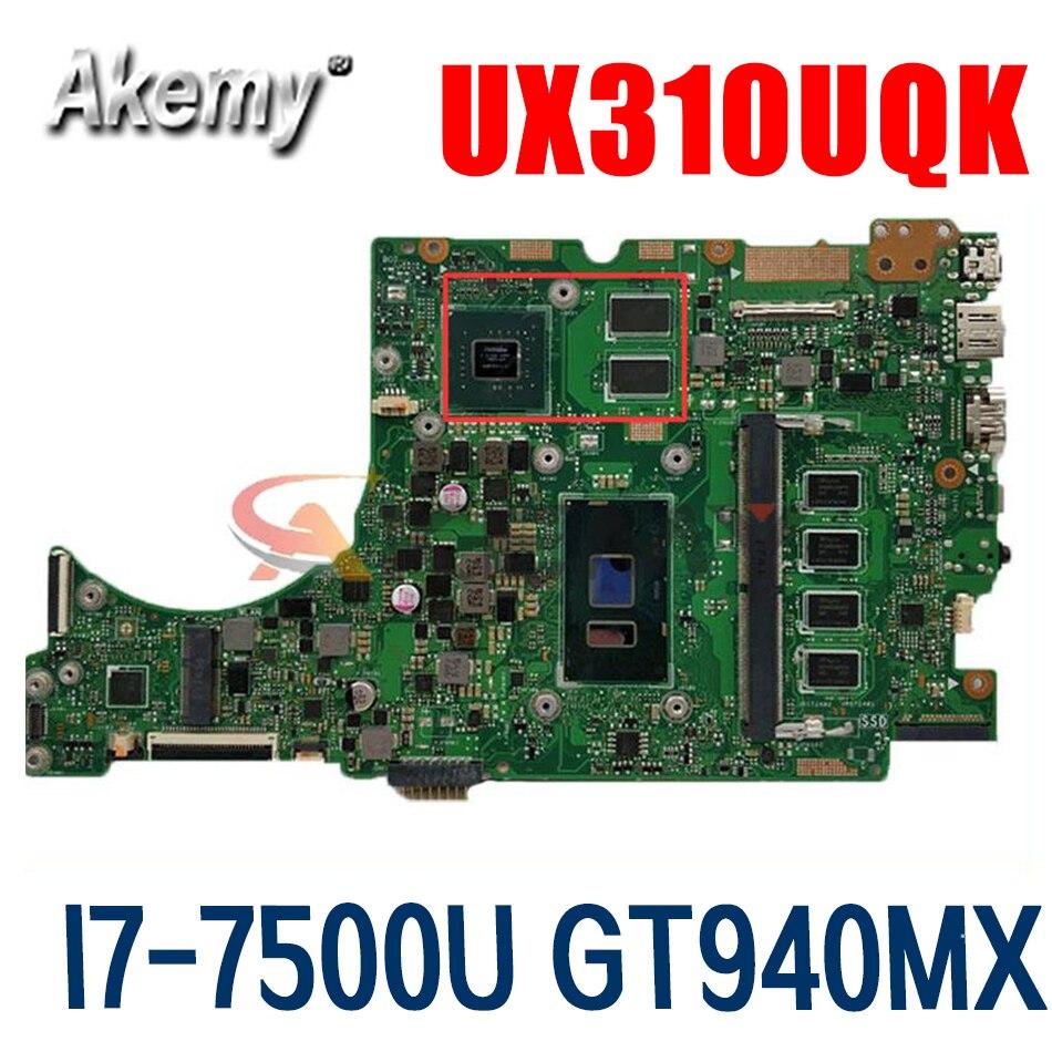 UX310UV اللوحة لابتوب ASUS UX410UQK UX310UQK UX410U UX310U اللوحة الأصلية CPU I7-7500U GT940MX-2GB 100% اختبار