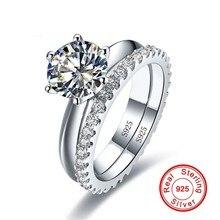 Solitaire 1ct diamant anneau ensembles réel 925 bijoux en argent sterling fiançailles bague de mariage anneaux pour les femmes mariée fête accessoire