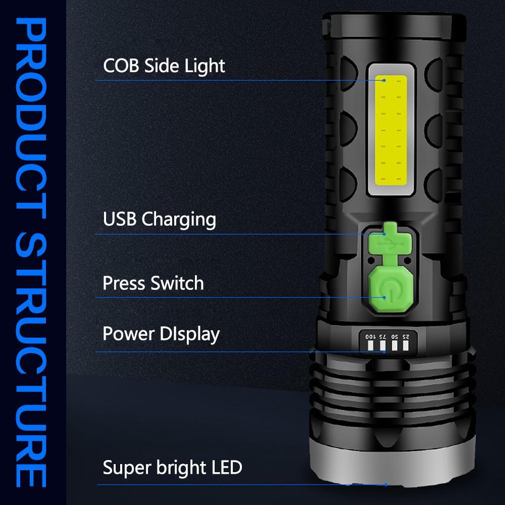 50000LM Solar LED Flashlight USB Charging Multifunctional Flashlight Waterproof Torch Built-in Battery Hand Light Camping Light enlarge