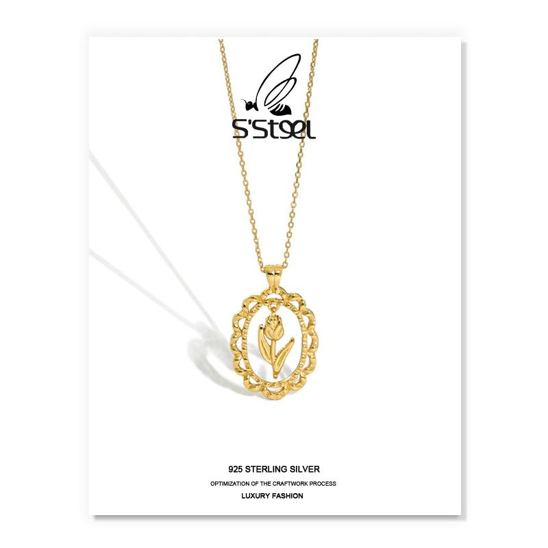 S'STEEL корейские ожерелья для женщин, цепочка из стерлингового серебра 925 пробы с цветком тюльпана, золотые подвески, ожерелье, ювелирные изде...