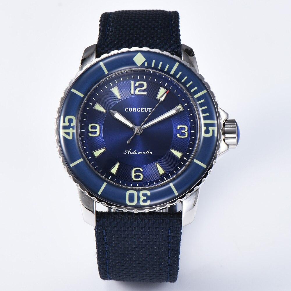 Corgeut 45mm Automatische Mechanische Mann Uhr Business Uhr Luxus Top Marke Luminous Wasserdichte Leinwand Strap Armbanduhr Männer