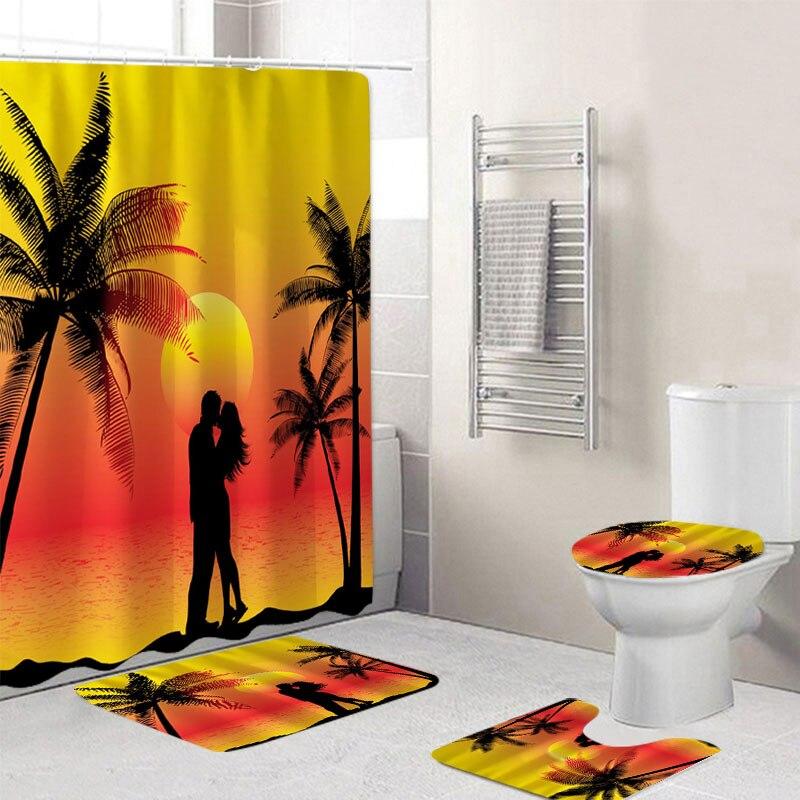 180x180CM par atardecer vista impresa Cortina de ducha de baño impermeable suave 3 uds estera Set Pedestal alfombra cubierta de inodoro hogar