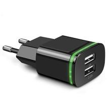 LED luminoso enchufe de la UE 2 puertos LED cargador USB 5V 2A adaptador de pared de teléfono móvil Micro datos de carga para iPhone iPad Samsung