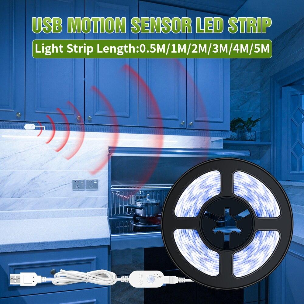 5m usb sob a luz do armário lâmpada de tira led 5v pir sensor de movimento luz led fita flexível diodo bateria pode ser escurecido lâmpada inteligente