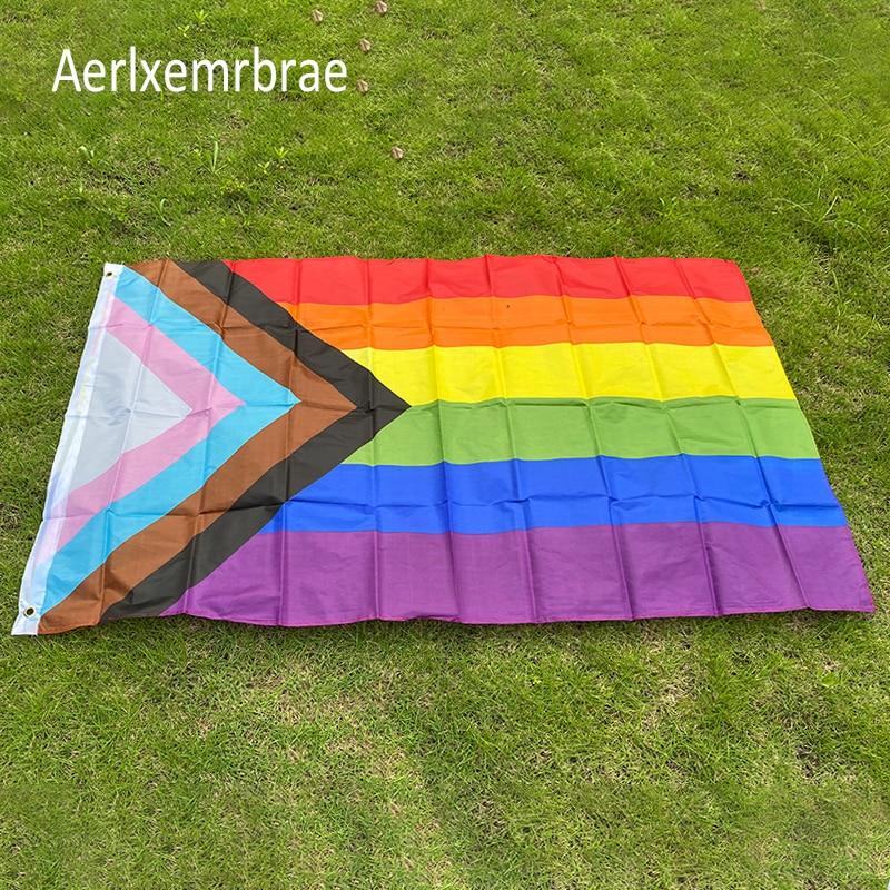 Aerlxemrbrae  Rainbow Flag 150X90CM Banner 100D Polyester grommets  lgbt Gay rainbow Progress Pride flag недорого