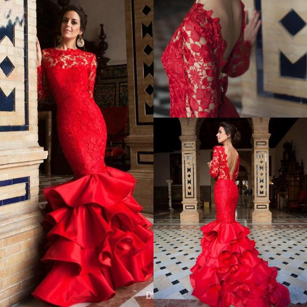 2020 Red Mermaid Backless Evening Dresses Wear Lace Sexy Backless Tiered Ruffles Gateau Illusion Sweep Train Prom Dress