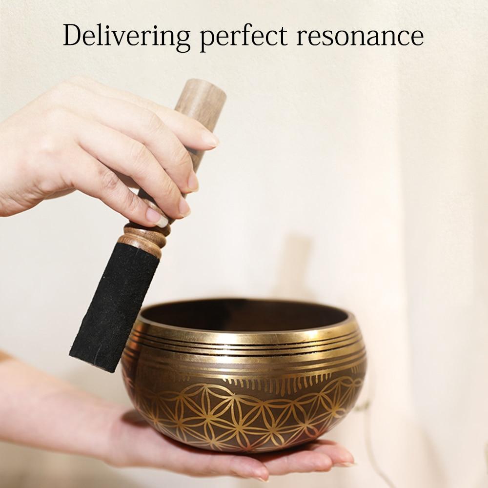 Ammoon التبتية التأمل جرس الموسيقى مجموعة البوذية الموسيقى العلاج يردد السلطانية مع مطرقة و وسادة زهرة نمط الحياة