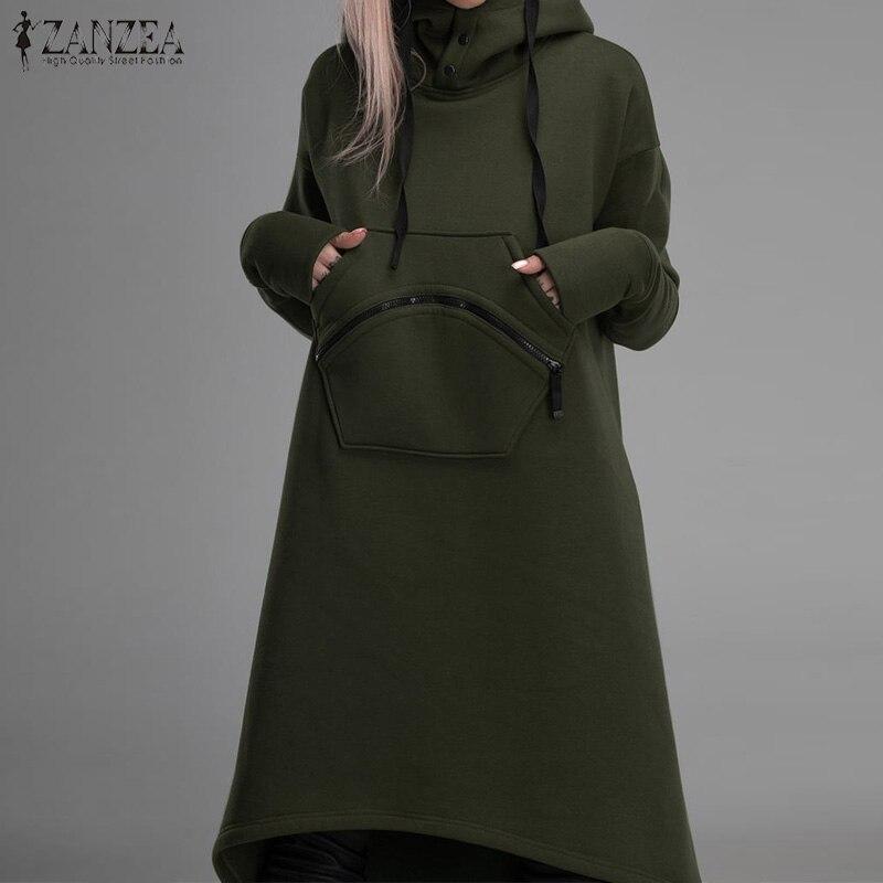 Zanzea feminino hoodies moletom vestido outono manga longa sólido velo pulôver casual irregular hem vestido femme com capuz