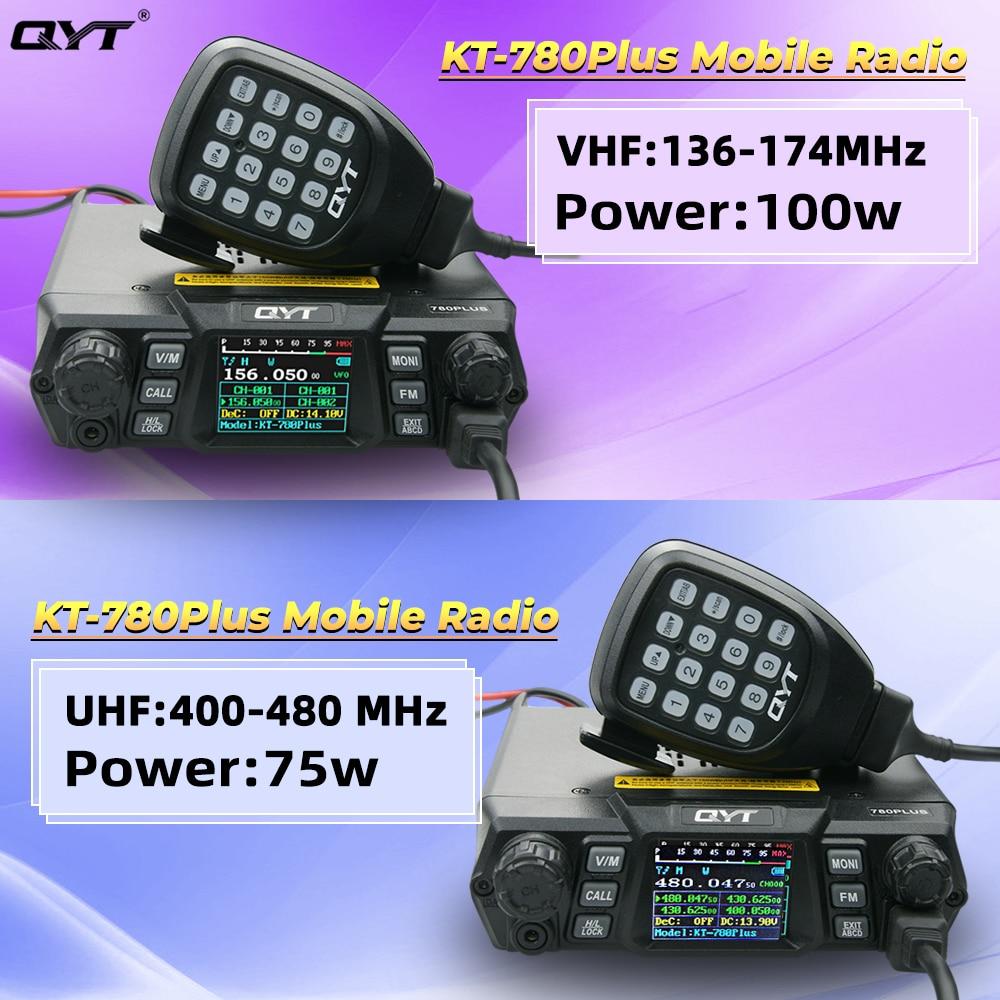 QYT KT-780PLUS 75W UHF(400-480MHz)Or 100W VHF(136-174MHz) Walkie Talkie / Ham Mobile Radio Transceiver DTMF Car Radio