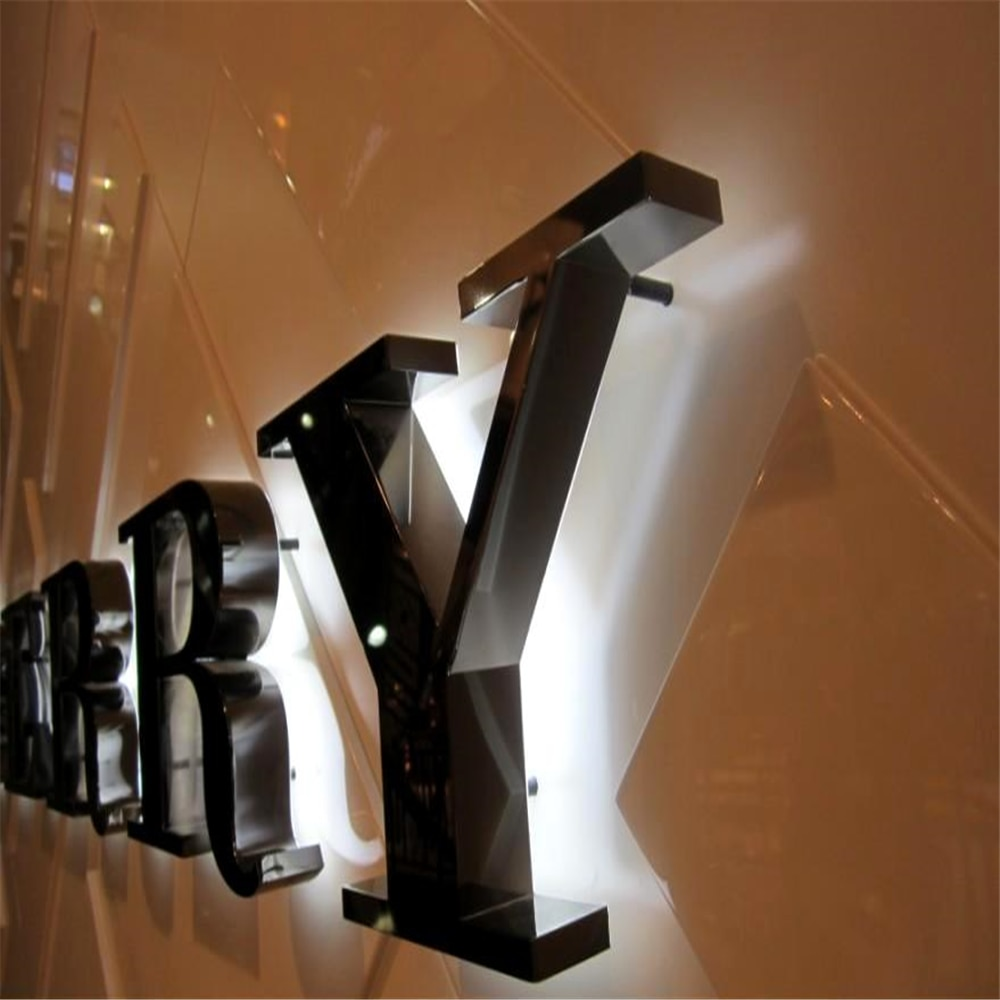 Factory Outlet outdoor back lit Stainless steel advertising led letter signs, customized facade halo lit  LED shop signage