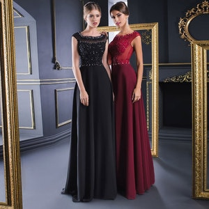 Chiffon A-line Jewel Sweep/Brush Floor length Beads Applique Flower Sleeveless Zipper Burgundy Evening Dresses Exquisite