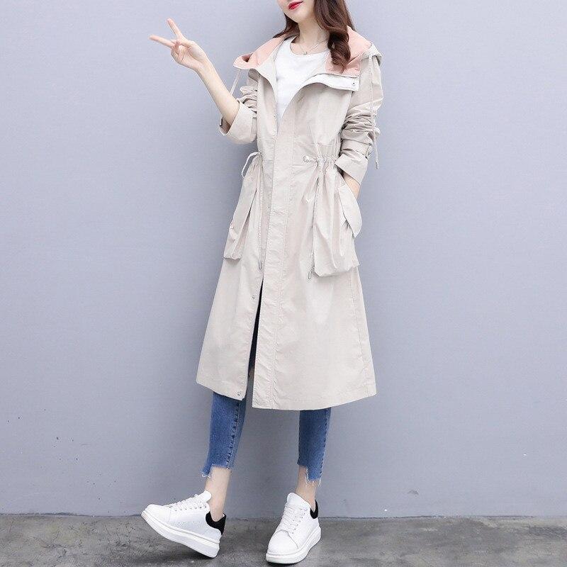 2020 Spring Autumn New Fashion Long trench coat women Korean Slim Big Pocket Drawstring waist Hooded Windbreaker Women overcoat