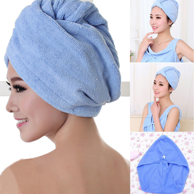 Microfiber Bath Towel Hair Dry Hat For Lady Man Turban Head Wrap Bathing Tools Quick Drying Soft Shower Cap