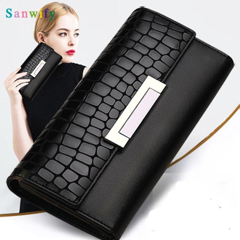 Fashion Women Wallets Genuine Leather High Quality Long Design Clutch Cowhide Wallet Fashion Female Purse