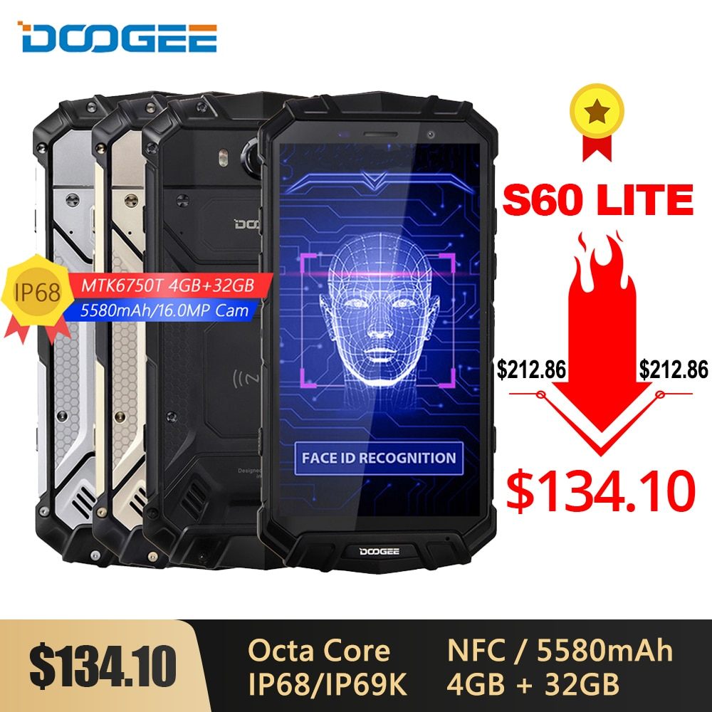 DOOGEE S60 Lite IP68 Беспроводной зарядки смартфона 5580 мА/ч, 12V2A Quick Charge 16MP 5,2 FHD MTK6750T Octa Core, 4 Гб оперативной памяти, 32 Гб встроенной памяти, nfc чехол для ...