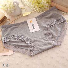 Bragas de encaje de moda para mujer, lencería de encaje de Color sólido, bragas bonitas de algodón a media cintura, ropa interior de mujer