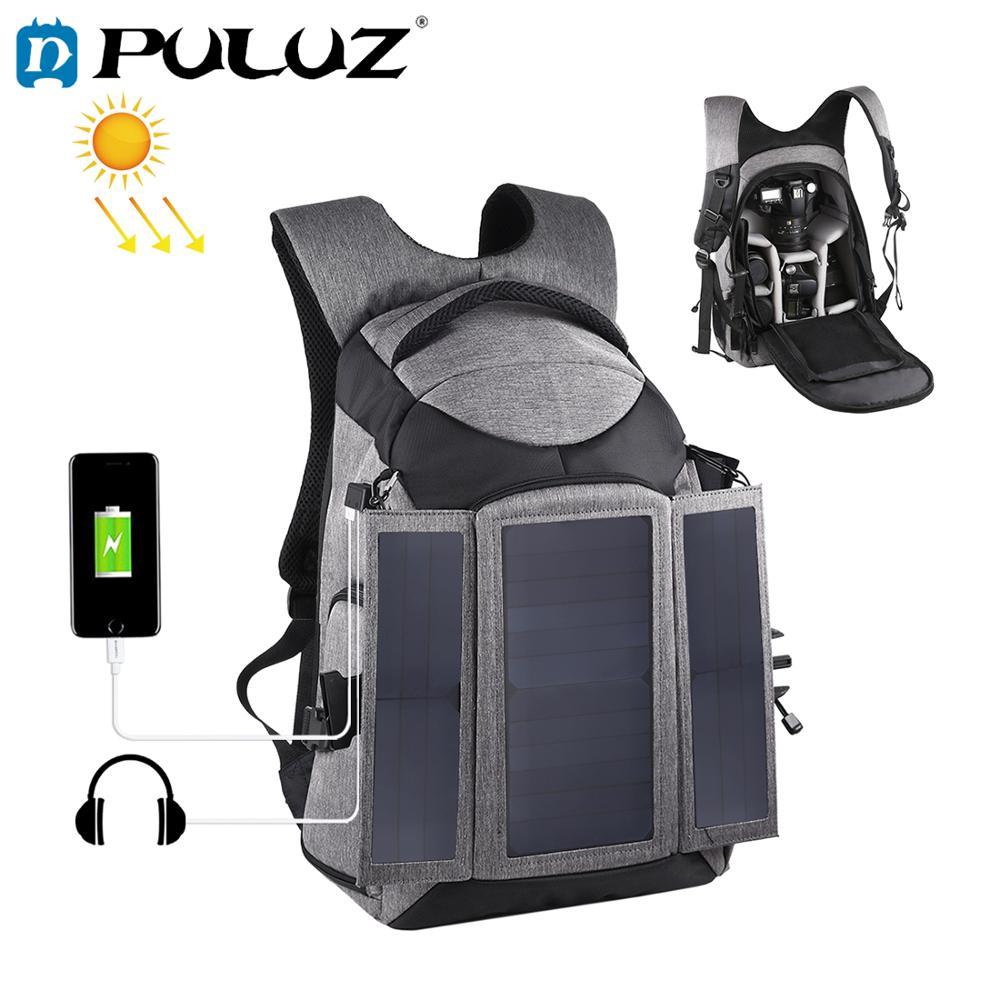 PULUZ 3-pliegue 14W Solar al aire libre porttil de doble hombro mochila...
