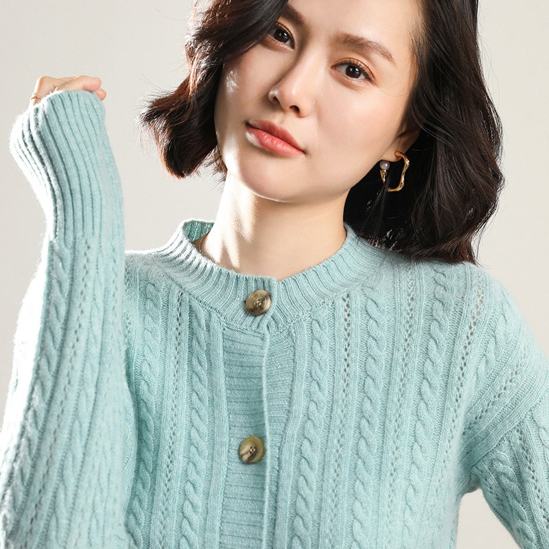 Sparsil Women Winter 100%Cashmere O-Neck Cardigan Sweater Solid Color Warm Fashion Female Slim Coat Single Breasted Knitwear enlarge