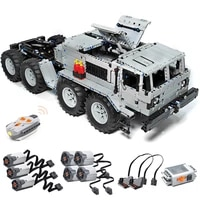 3180pcs dynamic version moc maz 537 8x8 military truck small particle diy building blocks with 7 motor children educational toys