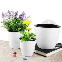 Vaso de flores rega automática, plantador de plástico de resina para pendurar na parede, para varanda, para plantas, plantador de rega automática