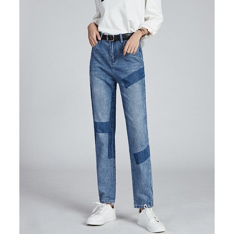 بنطلون جينز نسائي للخروجات اليومية بقصة مستقيمة من قماش الدنيم بنطلون كاوبوي بسوستة جانبية للقدم بنطلون بنطلونات نسائية