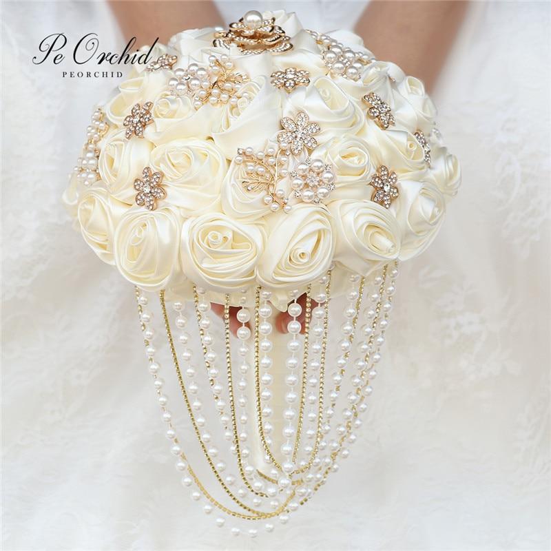 PEORCHID مخصصة كريم الأبيض/الأحمر الزفاف باقة اللؤلؤ بروش الحرير روز الزهور الزفاف اليد باقة للعرائس