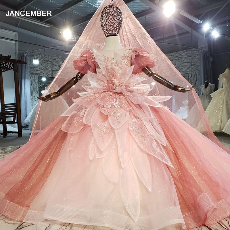 HTL0701 الوردي الأطفال فستان ورود للزينة قصيرة الأكمام الدانتيل ضوء الغزل الملمس الزفاف مأدبة الفتيات فستان الزفاف زهرة