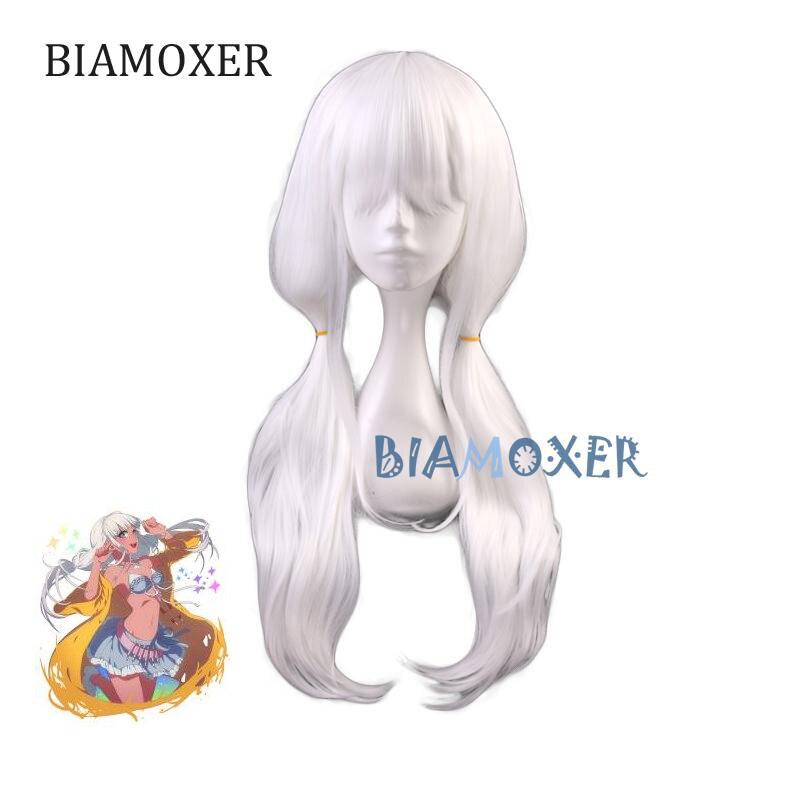 Danganronpa Angie Yonaga Women White Long Wig Cosplay Costume Dangan Ronpa V3 Killing Harmony Heat Resistant Synthetic Hair Wigs