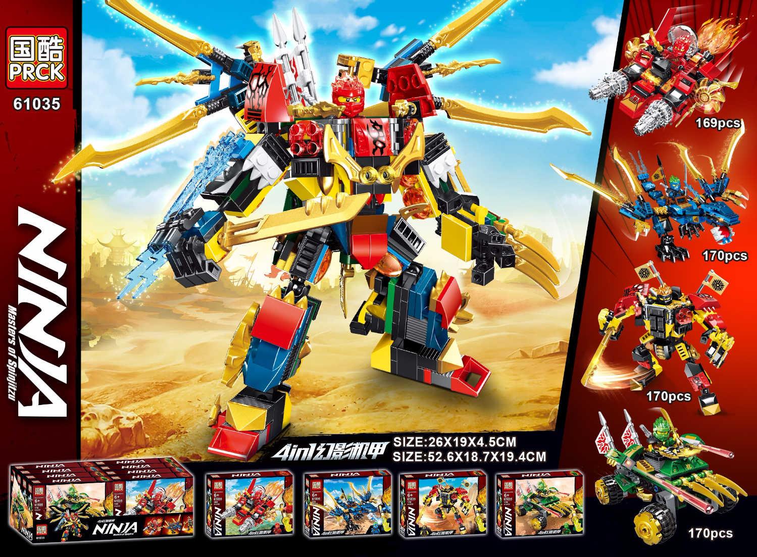 Bloques de construcción New 679 Uds Ninja 4in1 Big Mech modelo Kai Jay Cole, Zane Lloyd Mech Ninjagoes, bloques de juguete para niños